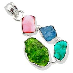 15.08cts green chrome diopside rough turquoise tibetan 925 silver pendant r40331