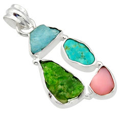 14.23cts green chrome diopside rough turquoise tibetan 925 silver pendant r40333