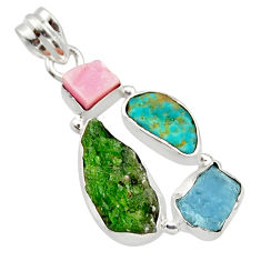 15.65cts green chrome diopside rough turquoise tibetan 925 silver pendant r40336