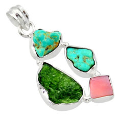 15.65cts green chrome diopside rough turquoise tibetan 925 silver pendant r40337