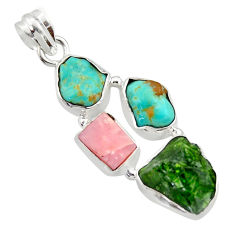 18.15cts green chrome diopside rough turquoise tibetan 925 silver pendant r40339