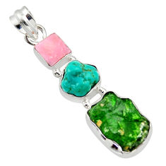 16.73cts green chrome diopside rough turquoise tibetan 925 silver pendant r40340