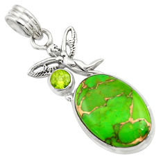 Clearance Sale- 14.70cts green copper turquoise 925 silver angel wings fairy pendant d41690