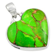 21.94cts green copper turquoise 925 sterling silver fpendant r45961