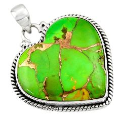 25.04cts green copper turquoise 925 sterling silver heart pendant jewelry r45963