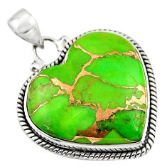 24.89cts green copper turquoise 925 sterling silver heart pendant jewelry r45964