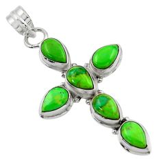 9.95cts green copper turquoise 925 sterling silver holy cross pendant r47971