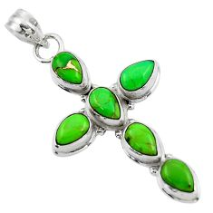 9.68cts green copper turquoise 925 sterling silver holy cross pendant r47972