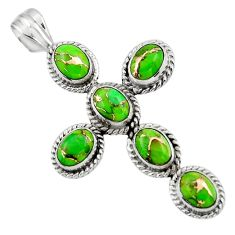 9.23cts green copper turquoise 925 sterling silver holy cross pendant r47994