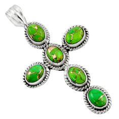 9.20cts green copper turquoise 925 sterling silver holy cross pendant r47995