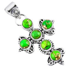 4.46cts green copper turquoise 925 sterling silver holy cross pendant r55861