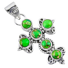 4.46cts green copper turquoise 925 sterling silver holy cross pendant r55862