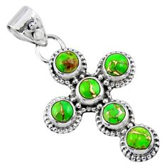 4.52cts green copper turquoise 925 sterling silver holy cross pendant r55906