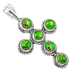 4.40cts green copper turquoise 925 sterling silver holy cross pendant r55947