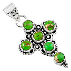 4.02cts green copper turquoise 925 sterling silver holy cross pendant r55949