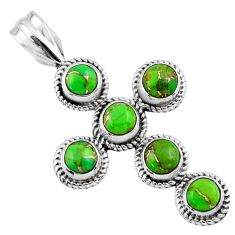 4.22cts green copper turquoise 925 sterling silver holy cross pendant r55950