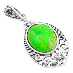 4.82cts green copper turquoise 925 sterling silver pendant jewelry c10526