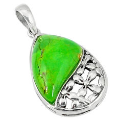 Green copper turquoise 925 sterling silver pendant jewelry c22664