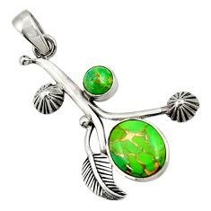 5.75cts green copper turquoise 925 sterling silver pendant jewelry d42843
