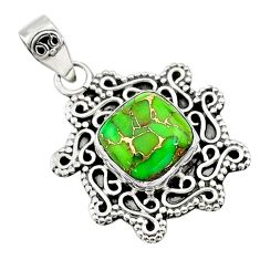 4.61cts green copper turquoise 925 sterling silver pendant jewelry t14511