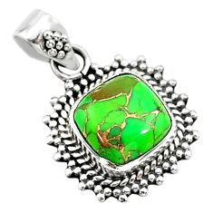 4.24cts green copper turquoise 925 sterling silver pendant jewelry t14525