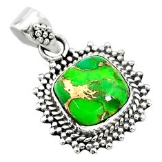 4.28cts green copper turquoise 925 sterling silver pendant jewelry t14528