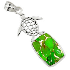 12.34cts green copper turquoise 925 sterling silver turtle pendant d44947