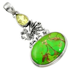 Clearance Sale- 23.68cts green copper turquoise amethyst 925 silver dragon pendant d41696