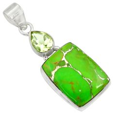 Clearance Sale- 16.87cts green copper turquoise amethyst 925 sterling silver pendant d41716