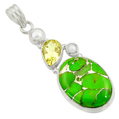 Clearance Sale- 17.66cts green copper turquoise amethyst white pearl 925 silver pendant d41708