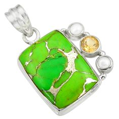 Clearance Sale- 17.42cts green copper turquoise citrine pearl 925 sterling silver pendant d41714