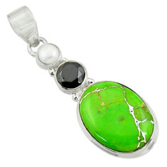 Clearance Sale- 15.55cts green copper turquoise onyx pearl 925 sterling silver pendant d41706