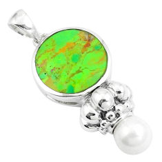 6.01cts green copper turquoise pearl 925 sterling silver pendant jewelry c10531