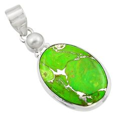 15.08cts green copper turquoise pearl 925 sterling silver pendant jewelry d41777