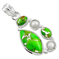13.96cts green copper turquoise pearl 925 sterling silver pendant jewelry r44644