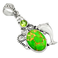 10.37cts green copper turquoise peridot 925 silver dolphin pendant d41745