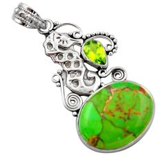 13.28cts green copper turquoise peridot 925 silver seahorse pendant d46672