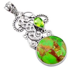 14.72cts green copper turquoise peridot 925 silver seahorse pendant d46721