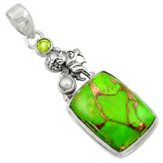 Clearance Sale- 18.94cts green copper turquoise peridot 925 sterling silver angel pendant d41682
