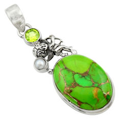 Clearance Sale- 18.43cts green copper turquoise peridot 925 sterling silver angel pendant d41685