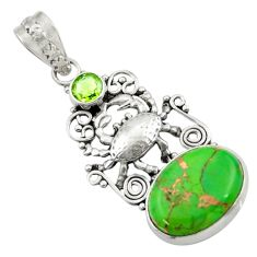 11.19cts green copper turquoise peridot 925 sterling silver crab pendant d41683