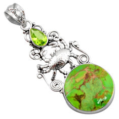 12.36cts green copper turquoise peridot 925 sterling silver crab pendant d46673