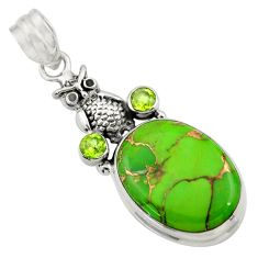 16.06cts green copper turquoise peridot 925 sterling silver owl pendant d41681