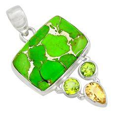 20.88cts green copper turquoise peridot 925 sterling silver pendant d41719