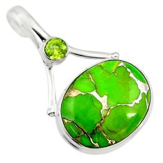 16.20cts green copper turquoise peridot 925 sterling silver pendant d41803