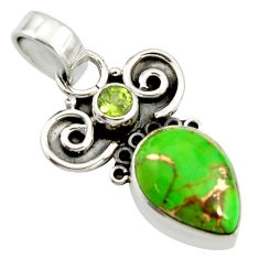 7.17cts green copper turquoise peridot 925 sterling silver pendant r24967