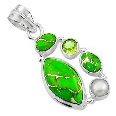 14.01cts green copper turquoise peridot 925 sterling silver pendant r44641