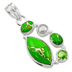 13.91cts green copper turquoise peridot 925 sterling silver pendant r44643