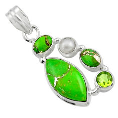 13.43cts green copper turquoise peridot 925 sterling silver pendant r44645