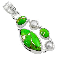 14.31cts green copper turquoise peridot 925 sterling silver pendant r44646